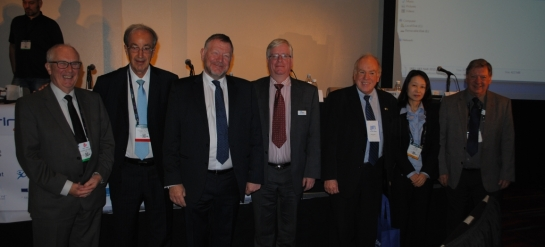 Peter Owen (IBC), Fernando Bittencourt (SET), Peter Bruce (IABM), Peter White(IAMB), Olimpio Franco (SET), Reiko Kondo (MIC Japão), e Peter Symes(SMPTE).