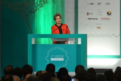 Brasília - A presidenta Dilma Rousseff participa do 27º Congresso Brasileiro de Radiofusão com o tema O rádio e a TV na transição para o futuro, no Centro de Convenções Brasil 21 (Valter Campanato/Agência Brasil)